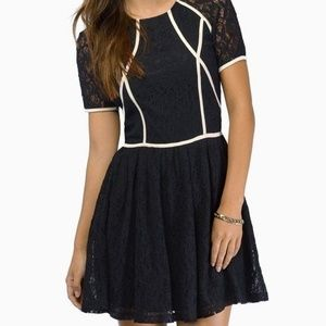 Tobi Black Lace with white pipping & sleeves Dress